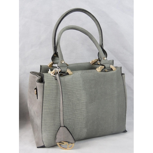 27 - Handbag. Grey python effect, two handles, zip closure, two internal zip pockets and two internal ope...