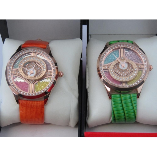 270 - Watches. Two bedazzled watches. One with orange crocodile effect strap and one with green crocodile ...