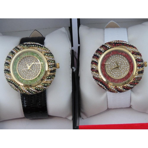 271 - Watches. Two bedazzled watches. One with black crocodile effect strap and one with white crocodile e...