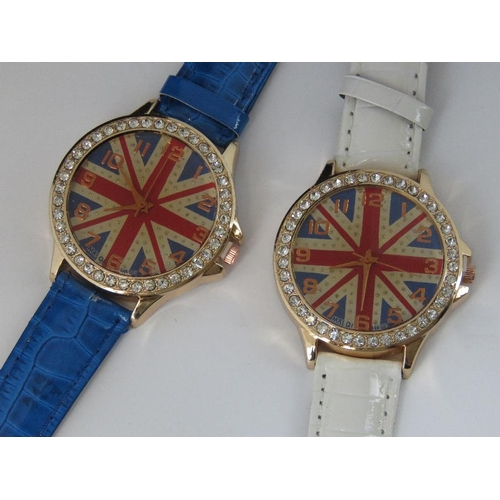 274 - Watches. Two bedazzled watches with British flag on dial. One with blue crocodile effect strap and o...