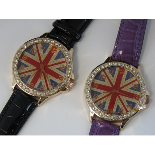 275 - Watches. Two bedazzled watches with British flag on dial. One with black crocodile effect strap and ...