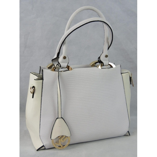 28 - Handbag. White python effect, two handles, zip closure, two internal zip pockets and two internal op...