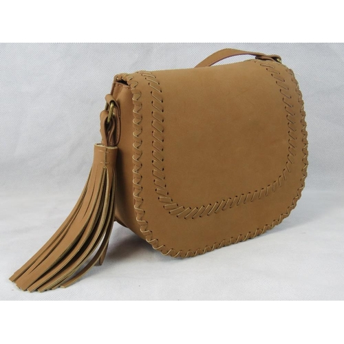 29 - Handbag. Tan with woven/tassel design, shoulder strap, internal zip pocket and internal open pocket....