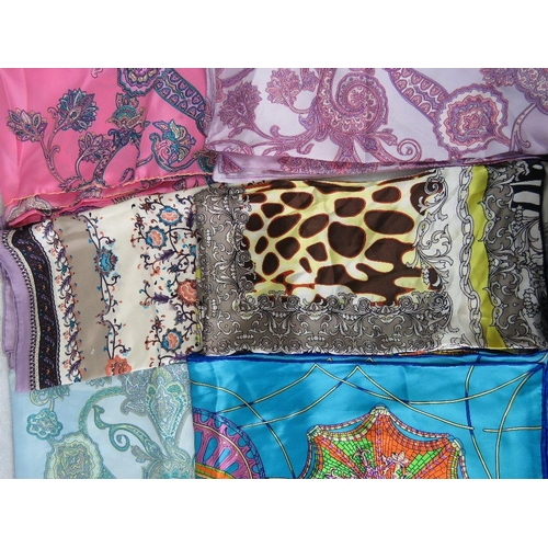 291 - Scarfs. Six square silk scarfs. Variety of patterns....