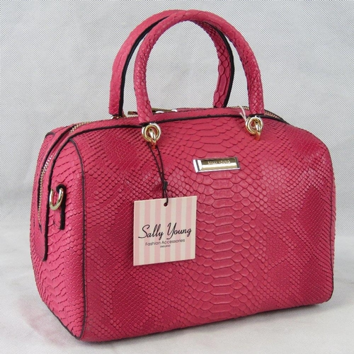 3 - Handbag. Pink python effect, two handles, zip closure, internal zip pocket and two internal open poc...