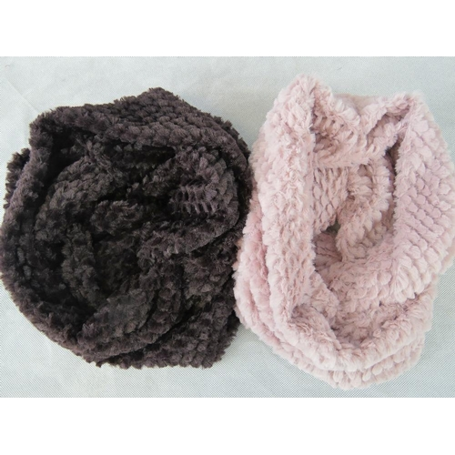 301 - Scarfs. Two fluffy hoop scarfs, pink and brown....