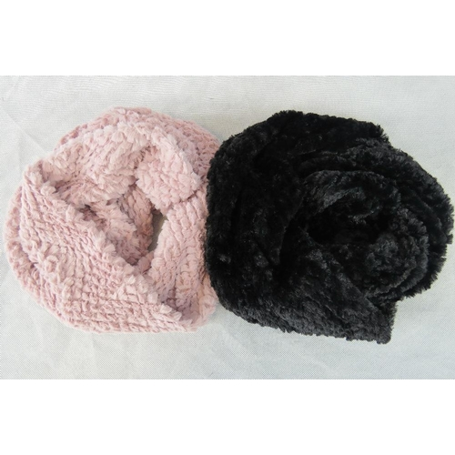 303 - Scarfs. Two fluffy hoop scarfs, pink and black....