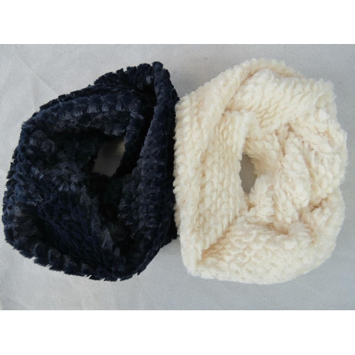 304 - Scarfs. Two fluffy hoop scarfs, navy and white....
