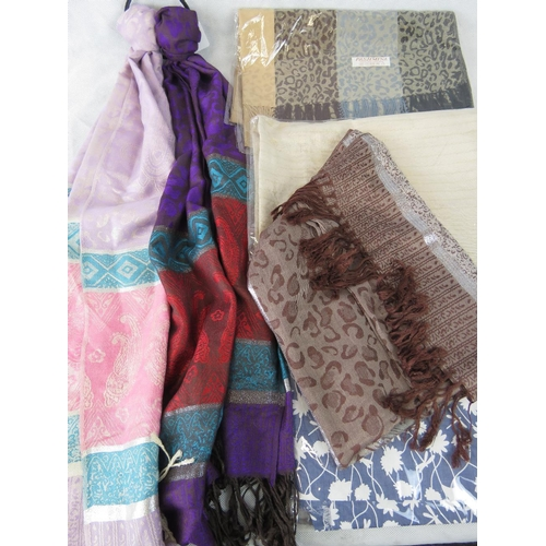 307 - Pashminas. Six pashminas of various colours and patterns....