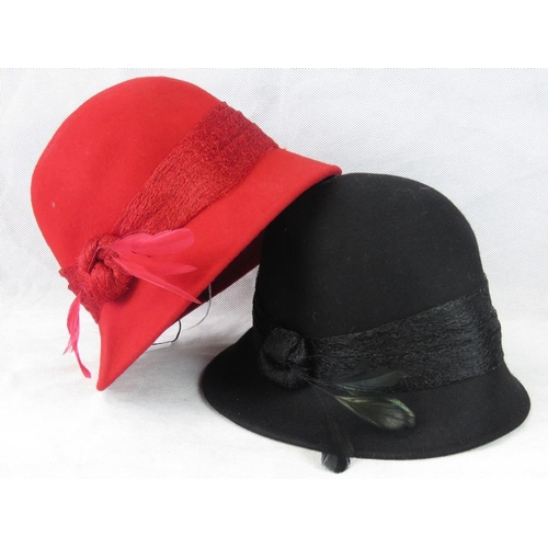 310 - Hats. Two lace knot and feather design, drawstring size adjustment, red and black....