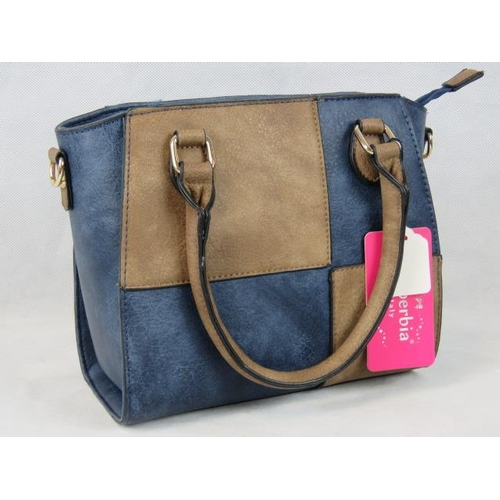 328 - Handbag. Brown and navy chequered, two handles, two internal zip pockets and two internal open pocke...