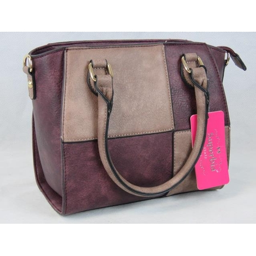 329 - Handbag. Lilac and purple chequered, two handles, two internal zip pockets and two internal open poc...