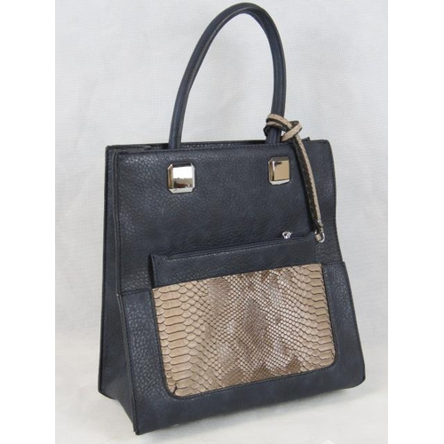 330 - Handbag with detachable purse. Navy with brown python effect detail, two handles, zip closure, two i...