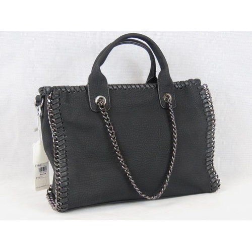 331 - Handbag. Black with black chain details, two handles, zip closure, two internal zip pockets and two ...
