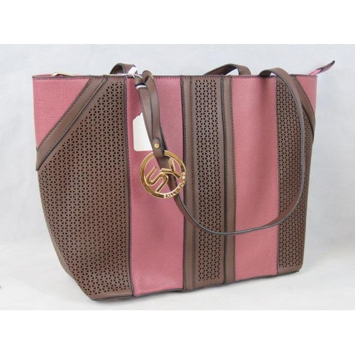 332 - Tote bag. Dusky pink with brown pierced details, two handles, zip closure, internal zip pocket and t...