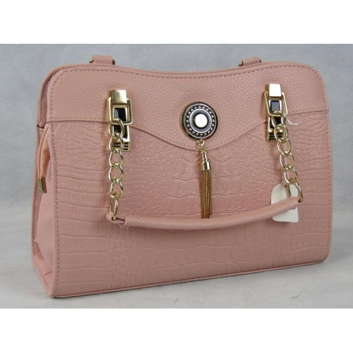339 - Handbag. Pink python effect with tassel detail, two handles, zip closure, internal zip pocket, inclu...