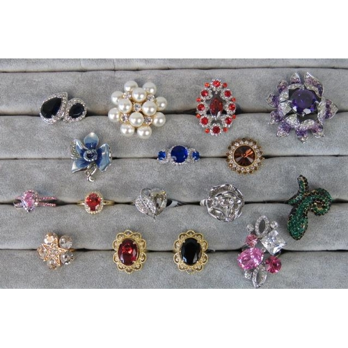 343 - Costume Jewellery. Sixteen rings of various colours, styles and sizes....