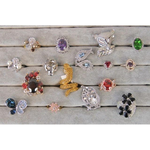 345 - Costume Jewellery. Sixteen rings of various colours, styles and sizes....
