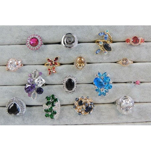 349 - Costume Jewellery. Sixteen rings of various colours, styles and sizes....