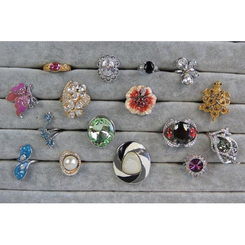 351 - Costume Jewellery. Sixteen rings of various colours, styles and sizes....