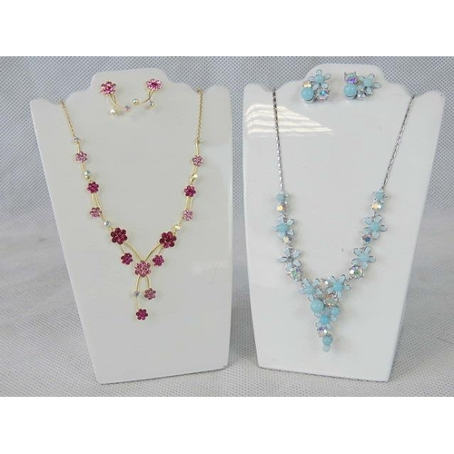 357 - Costume Jewellery. Two necklace and earring sets. One with blue flower and faux pearl design, the ot...