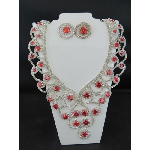 362 - Costume Jewellery. Necklace and earring set. Red and white swirl pattern....