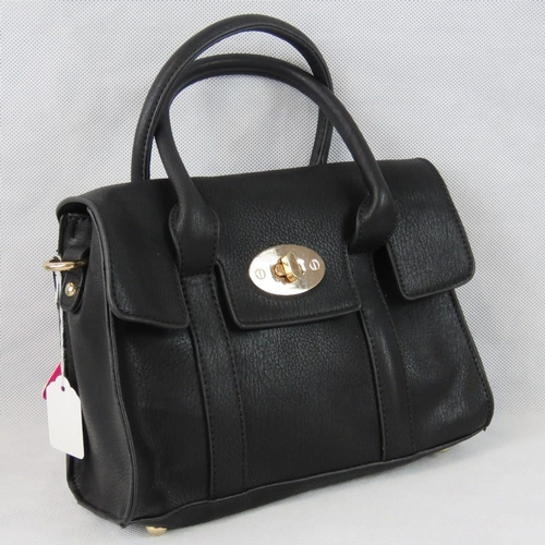 37 - Handbag. Black, two handles, clasp and zip closure, internal zip pocket and two internal open pocket...