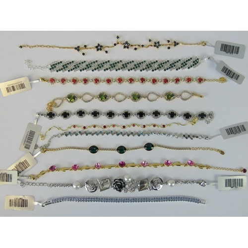 390 - Costume Jewellery. Eleven bracelets of various styles and colours (£187.97 on labels, one without la...