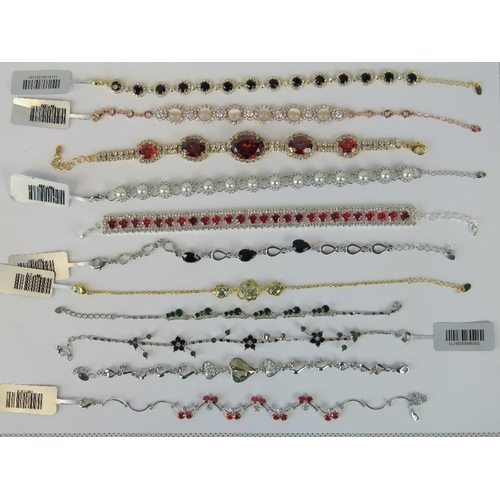 391 - Costume Jewellery. Eleven bracelets of various styles and colours (£123.96 on labels, four without l...