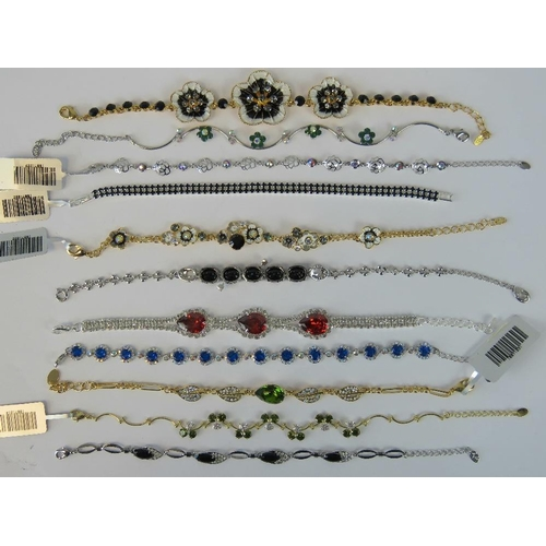 392 - Costume Jewellery. Eleven bracelets of various styles and colours (£133.96 on labels, four without l...