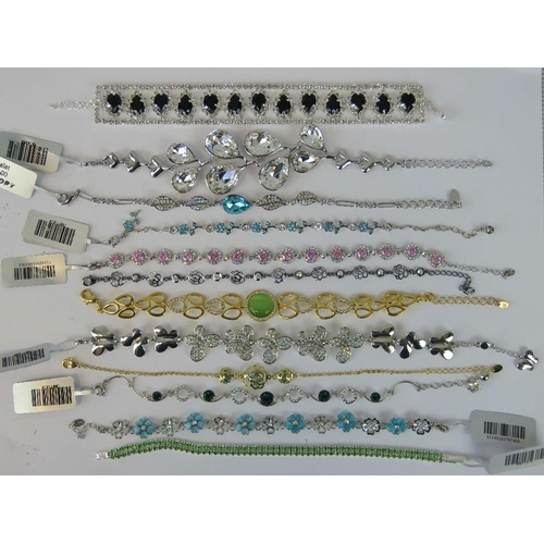 393 - Costume Jewellery. Twelve bracelets of various styles and colours (£171.97 on labels, three without ...