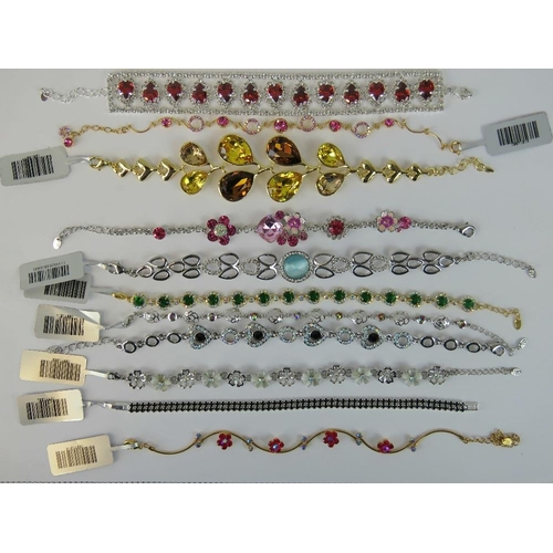 394 - Costume Jewellery. Eleven bracelets of various styles and colours (£157.95 on labels, three without ...