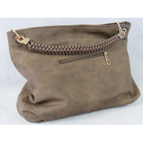 4 - Tote bag. Brown, single braided handle, zip closure, two internal zip pockets and two internal open ...