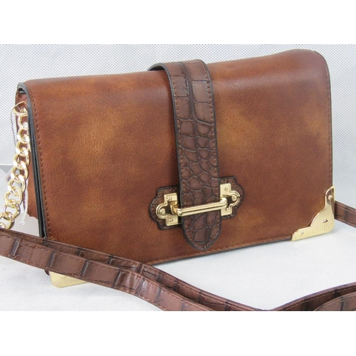 46 - Handbag. Brown with crocodile effect strap detail, shoulder strap, zip and clasp closure, internal z...