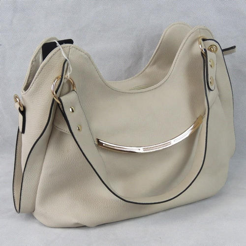 48 - Handbag. Taupe, two handles, zip closure, internal zip pocket and two internal open pockets, include...