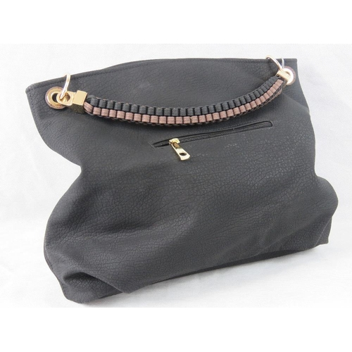 5 - Tote bag. Black, single braided handle, zip closure, two internal zip pockets and two internal open ...