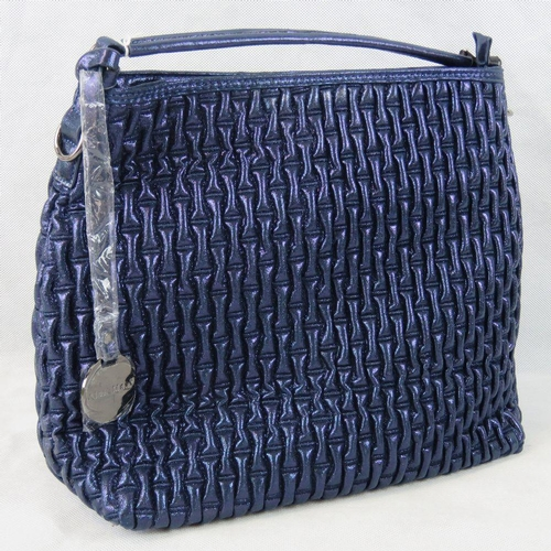 53 - Tote bag. Glittery blue, single handle, zip closure, internal zip pocket and two internal open pocke...
