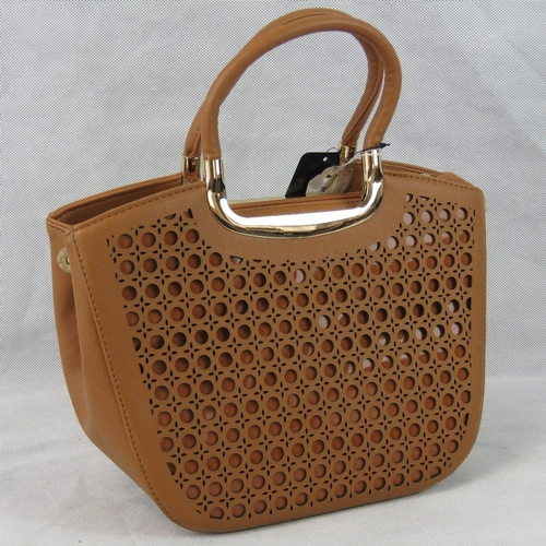 55 - Handbag. Tan with pierced detail to front, two handles, zip closure, three internal zip pockets and ...
