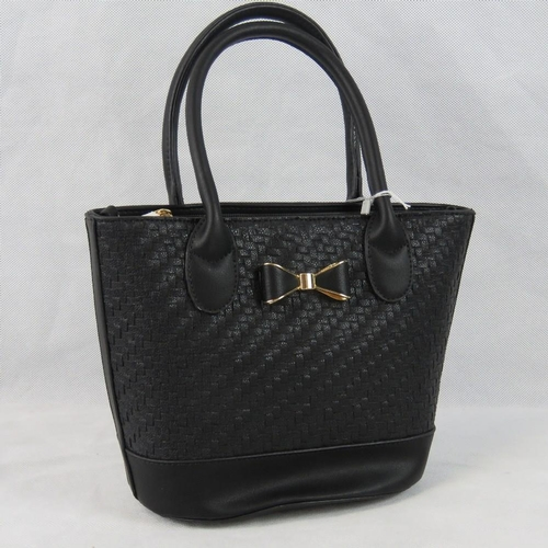 56 - Handbag. Black woven design, bow detail, two handles, zip closure, internal zip pocket and two inter...