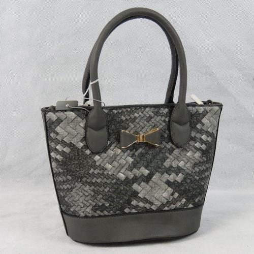 58 - Handbag. Grey woven design, bow detail, two handles, zip closure, internal zip pocket and two intern...