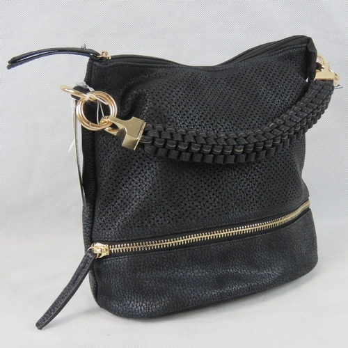 59 - Handbag. Black  with piercing and zip detail, single braided handle, zip closure, two internal zip p...