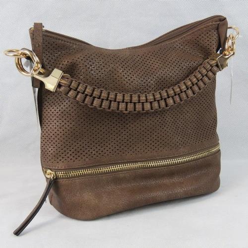 60 - Handbag. Brown with piercing and zip detail, single braided handle, zip closure, two internal zip po...