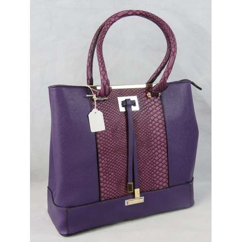 61 - Tote bag. Purple with python effect section, two python effect handles, zip closure, two internal zi...