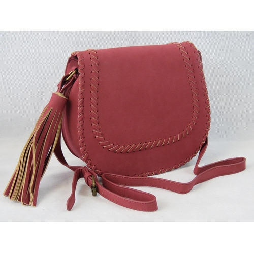 64 - Handbag. Red with woven/tassel design, shoulder strap, internal zip pocket and internal open pocket....