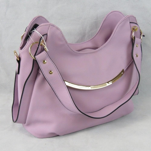 65 - Handbag. Lilac, two handles, zip closure, internal zip pocket and two internal open pockets, include...
