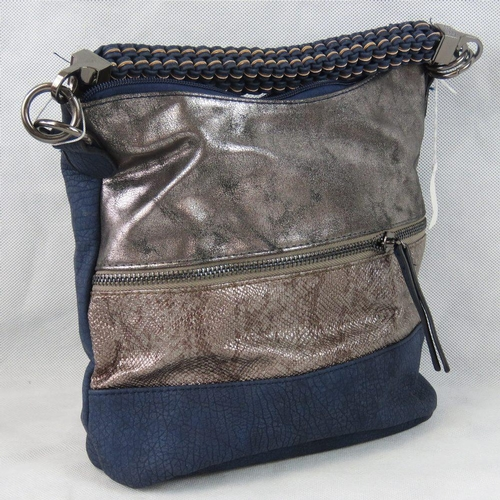 7 - Handbag. Navy and silver with zip detail, single braided handle, zip closure, two internal zip pocke...