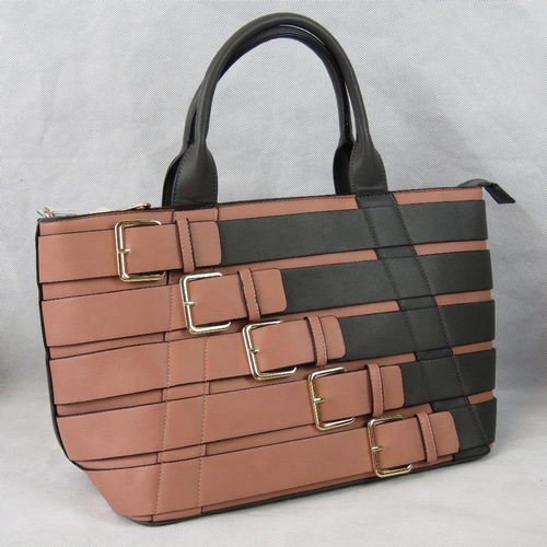 71 - Handbag. Dusky pink and grey buckle design, two handles, zip closure, to internal zip pockets and tw...