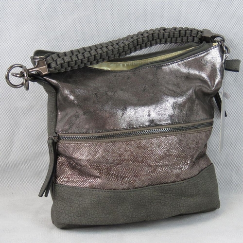 8 - Handbag. Grey and silver with zip detail, single braided handle, zip closure, two internal zip pocke...