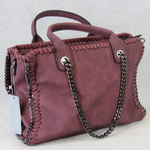82 - Handbag. Burgundy with black chain details, two handles, zip closure, two internal zip pockets and t...