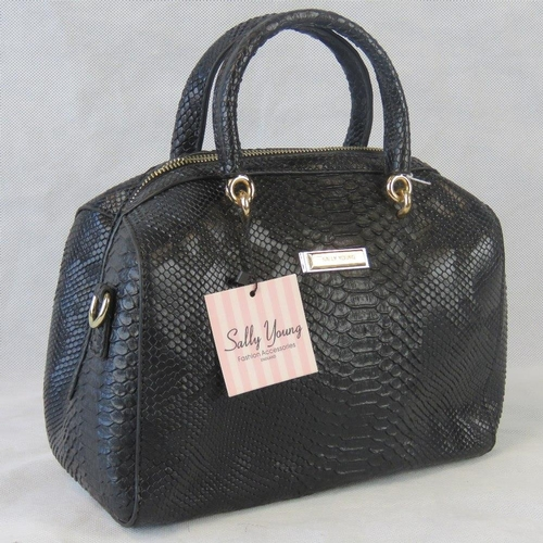 84 - Handbag. Black, python effect, two handles, zip closure, internal zip pocket and two internal open p...